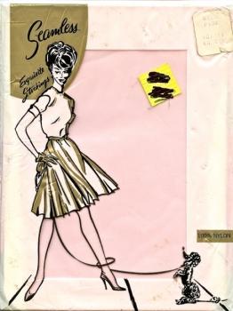 1950s Seamless Stockings 100% Nylon Size 10.5-11 USA PINK