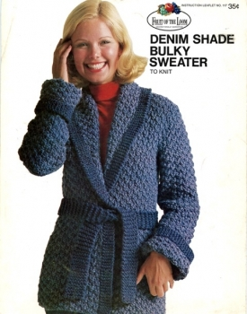 Denim Shade Flower Trimmed Hat Scarf Mittens Bulky Sweater to Crochet 70s Pattern Instruction