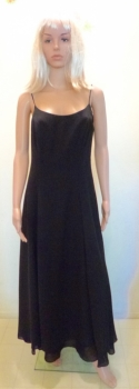 Spaghetti Strap 80s Black Maxi Dress A-Line Formal