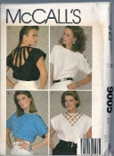 1984 McCall's 9005 Lattice Cut Shirt Vintage 80s Sewing Pattern - 32.5 inch Bust