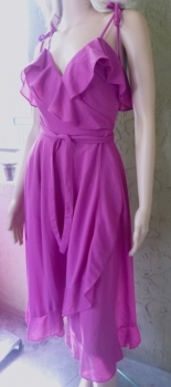 Pink Ruffle Disco Dress Late 70s Early 80s True Vintage