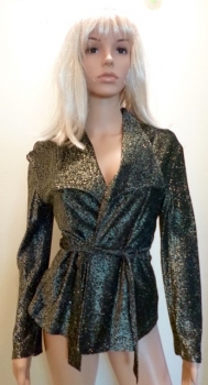 Silver 70s Disco Jacket Wide Lapels Small