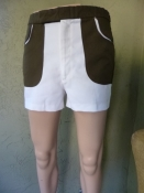Vintage Men's 70s Tennis Shorts U-Back Two-tone Brown and White