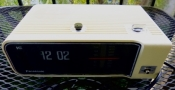 White Panasonic Flip Digital Clock Radio - Mid-Century Modern Electronics