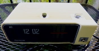 White Panasonic Flip Digital Clock Radio - Mid-Century Modern Electronics